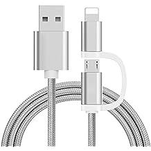 2in1Dual conector 1m USB de carga rápida Cable de datos para Android & iPhone iPad
