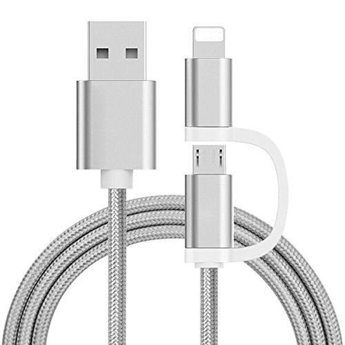 Lightning und Micro USB 2-in-1 Kabel 0.5m Nylon USB Ladekabel, Lightning auf USB & Micro USB Kabel, Daten Synchronisieren für iPhone 7 7Plus, 6s 6s Plus, 6, 6Plus, 5s und Android Smartphones