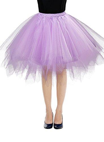 Bbonlinedress Kurz Retro Petticoat Rock Ballett Blase 50er Tutu Unterrock Lavender