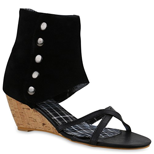 Damen Sandaletten Sandal Boots Schaftsandaletten Kork Keilabsatz Schuhe 138790 Schwarz Korkoptik 40 Flandell