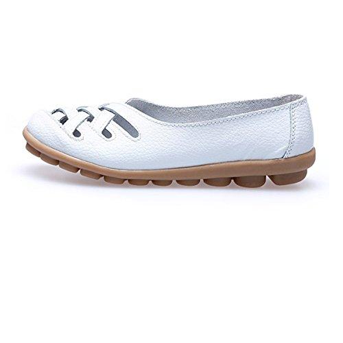Oriskey Damen Mokassin Bootsschuhe Leder Loafers Schuhe Flache Fahren Halbschuhe Slippers Weiß