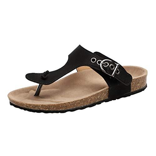AIni Damen Schuhe Beiläufiges Mode Elegant Sommer Strand Partyschuhe Freizeitschuhe Komfortable Flache Ferse Flip Flops Sandalen Slipper Strandschuhe(43,Schwarz)