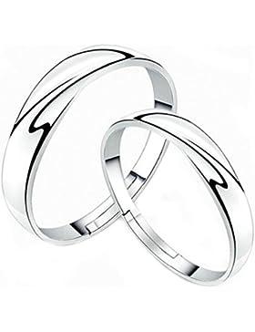 AnaZoz Schmuck Partnerringe 925 Sterling Silber Wellen Trauringe Eheringe Ringgröße Verstellbar für Paar