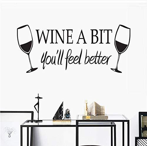 Lkfqjd Wein Ein Bisschen Sie Fühlen Sich Besser Wandaufkleber Küche Wandfliese Aufkleber Vinyl Wasserdichte Wandtattoos Weingläser