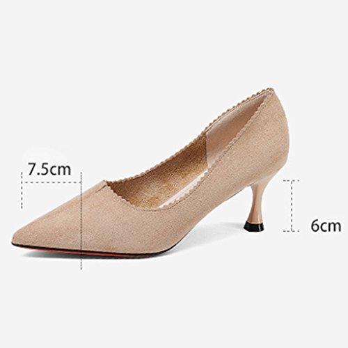 HWF Scarpe donna Scarpe col tacco alto a molla Scarpe col tacco alto a punta femminile Scarpe basse a bocca larga Scarpe pendenti ( Colore : Nero , dimensioni : 38 ) Apricot Color