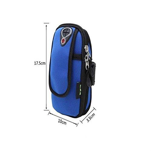 Edealing (TM) Universal wasserdichtes Workout-Eignung-laufendes Sport-Gym-Armbinde-Beutel-Handgelenk-Telefon-Beutel-Kasten-Abdeckung für Mobiltelefone (Schwarzes) Blue