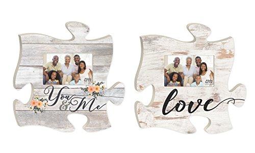 You und Me Love Floral weißwaschung Look Puzzle Stück Interlocking 4x 6Foto Rahmen Set von 2 (Foyer-tisch-set)