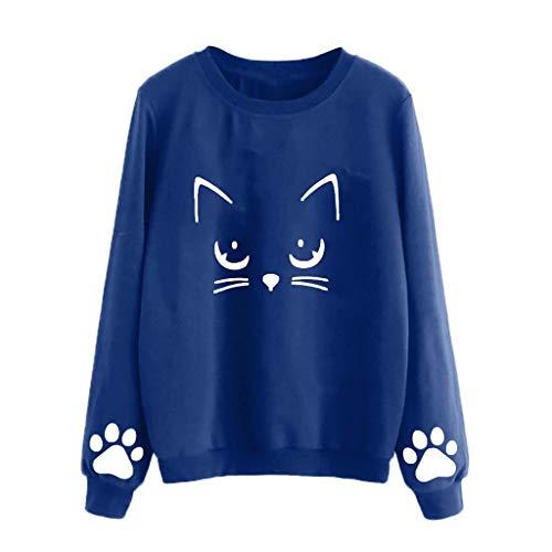 JiaMeng Cat Weater Cuello Redondo Manga Larga Blusa Regular Camisas Mujer Manga...
