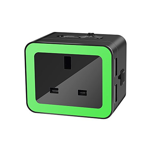 Travel Adaptor,Prous JB01 Universal Portable Charger Adapter Plug Sockets-Black+Green