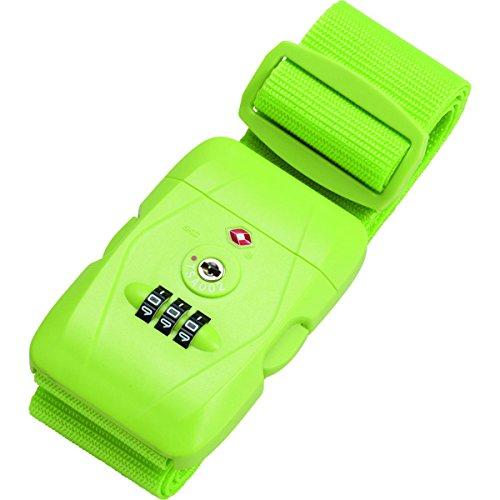 JSA Koffergurt aus strapazierfähigem Polyester, mit 3er Zahlenkombinationsschloss und TSA Gepäckgurt, 180 cm, Hellgrün -