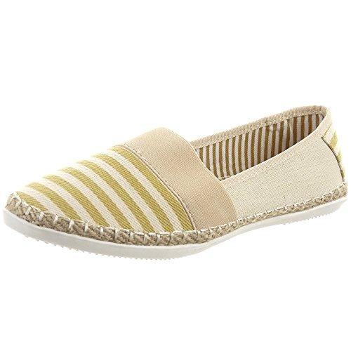 Sopily - Scarpe da Moda Espadrillas alla caviglia donna Lines Tacco a blocco 1 CM - Beige FRF-SA-93 T 37