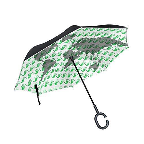 Faro per auto con manico a forma di C Ombrello da esterno Stampa palme Mappa del mondo Ombrello da patio Ombrello inverso antivento
