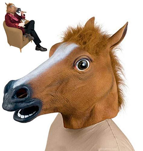 Suneast Novelty Pferdemaske, Latex, Gummi, Tier-Masken, Pferdekopf-Masken, Halloween-Kostüm, Party-Dekoration für Erwachsene und Kinder, Braun
