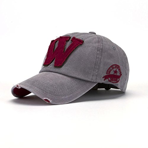 Malloom SnapBack sombreros Unisex verano letra W Hockey béisbol Gorras Hip Hop gorros (gris)
