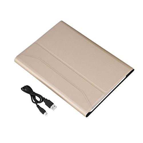 VBESTLIFE Kabellose Tastatur,Tragbare Ultra Slim Wireless Bluetooth Tastatur mit faltbaren Fall für ipad air1 / air2 / ipad pro 9.7 / ipad 9.7 2017 Tablet(Gold Unterstützung Typ) (Fall Ipad Bluetooth)
