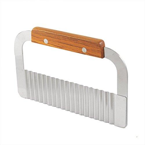 Lama per patatine fritte taglierina manico in legno lama affettatrice Crinkle cutter attrezzo utensile da cucina in acciaio INOX di verdure piega ondulata cutter argento