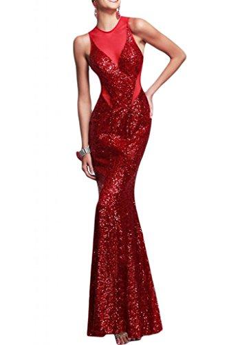 Toscane mariée Soirée Mode Exquisit rueckenfrei Paillette tuell soir StandART42Long Lave-vaisselle Party Ball Rouge