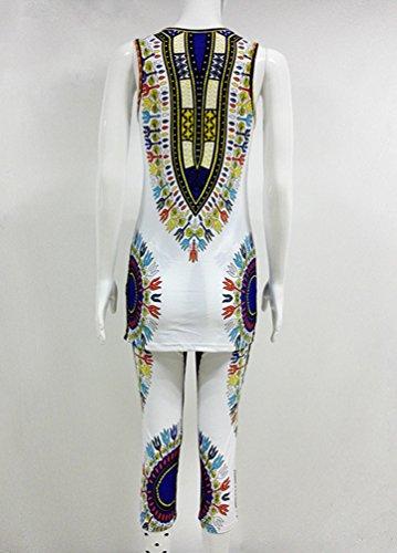 Yuncai Sommer Frauen Afrikanisch Geometrische Gedruckt ärmelloses Hemd und Kurze Hosen 2 Stücke Set Weiß Blau
