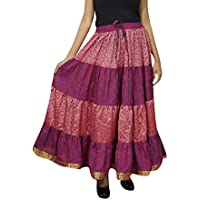 Womens Maxi Skirt Peach Silk Sari Long Swing Belly Dance Tiered Skirts L