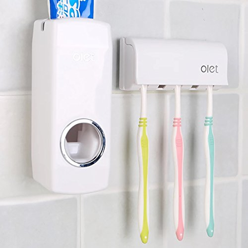 Automatic Toothpaste Dispenser with Wall Mount Toothbrush Holder – Toothpaste Squeezer with 5 Brushes Set, Kids Touchless Toothpaste Dispenser for Shower Bathroom Sink (White)
