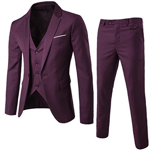 Sunshey Herren Anzug 3-Teilig Slim Fit Anzugsjacke Anzugsweste Anzugshose ein knopf Muster, Rot, DE XS/China L