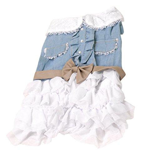 ranphy Denim Kleid für kleine Hunde Pet Kleid Sweet Cowboy Puppy Kleidung Jeans Puppy Rock Schleife Chihuahua Shirt