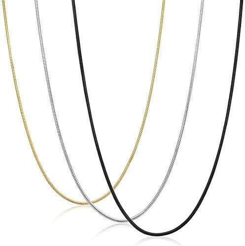 sailimue 0.9MM Gioielli Acciaio Inossidabile 3 Pezzi Collana Uomo Donna Catena Serpente Argento Nero Dorato Collegamento Lunghe 35 91CM