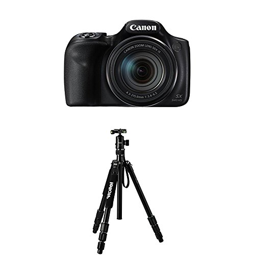 Canon PowerShot SX540 HS Digitalkamera (20,3 Megapixel CMOS-Sensor, 50-fach Ultrazoom, 100-fach ZoomPlus, WiFi, Full HD) schwarz+Rollei C5i Schwarz Aluminium (Canon Hs-100)