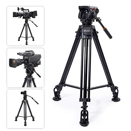 TARION Profi Stativ Kamera Video Stativ 160cm Doppelrohrstativ mit 360° Panorama Videoneiger und Schnellwechselplatte für Sony Panasonic JVC Kameras und Camcorder (max. Nutzlast 15KG) - Fluidkopf Video-stativ