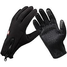 """1 Par de guantes termicos capacitivos ajustables para deportes de nieve talla """"L"""" color negro"""