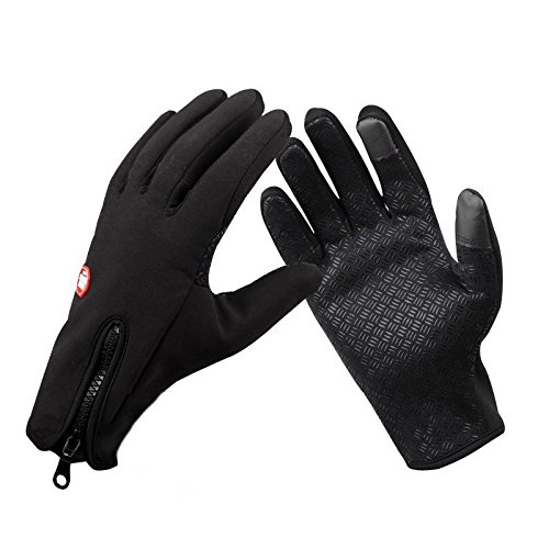 """1 Par de guantes termicos capacitivos ajustables para deportes de nieve talla """"S"""" color negro"""
