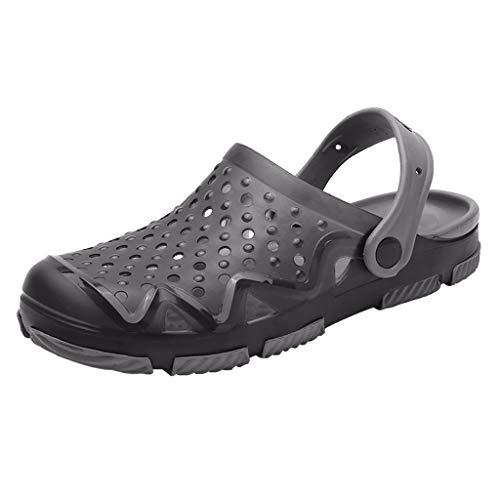 ZIYOU Herren Strand Sandals Aushöhlen Lässige Atmungsaktive Hausschuhe Flats Schuhe Sommer Clogs & Pantoletten(Grau,42 ()