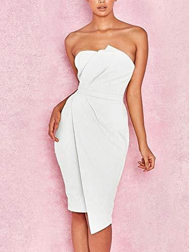 Asymmetrische Cocktail-abend-kleid (LYQSCL Damen Kleid Sommer Frauen Dame Dress Verband Bodycon Abend Party Weiß Club Wear Kurzes Kleid Trägerlos Elegante Frau, S)