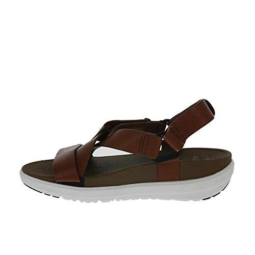 FitFlop Fronde Ii Sandale Noire Cuir Beige Tan Foncé