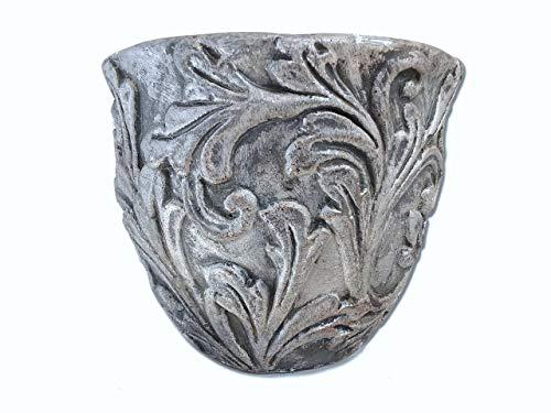 Der Perlenspieler® - Kerzenschmelzer Tischlicht-Antik Silber Stil-Shabby Chic mit Ornamenten -3 mm Glasfaserdocht-13 cm x 15 cm