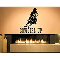 Wall Sticker Decal Cowgirl Up Country Cowboy Western Quote Horse Bull Rodeo Texas Boots Guitar Farmers