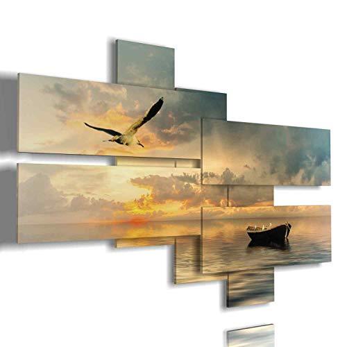 Quadri mare barca e gabbiano al tramonto - quadri moderni soggiorno camera da letto cucina salotto ufficio bar ristorante