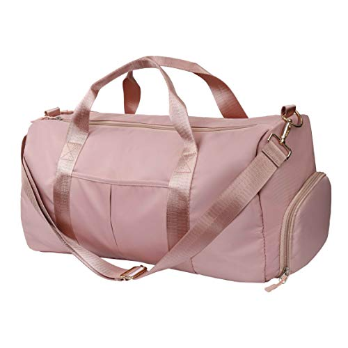 MaoXinTek Bolsas de Gimnasio 30L Mujeres Bolsa de Deporte Impermeable con Compartimento para Zapatos y Bolsillo Húmedo Bolsa de Viaje para Yoga Natacion Bailando El Tenis Rosa