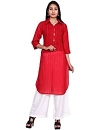 Teej Women's Designer Kurta Tunics 100% Cotton Kurti Palazzo Dress