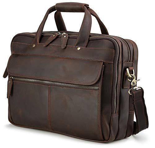 Laptop Aktentasche Leder iswee Messenger Bag 35,6cm 40,6cm Laptop Bag Travel Business Tasche für Herren Braun Dunkelbraun (L) 15.6*(W) 4.68(H)*11.7
