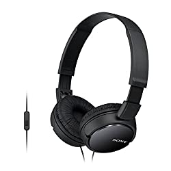 Sony MDR-ZX110AP On-Ear Stereo Headphones with Mic (Black)