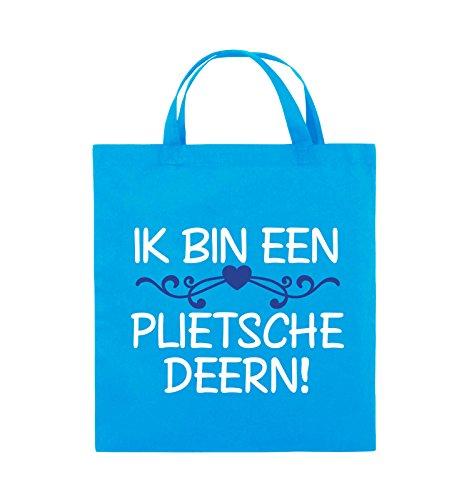 Comedy Bags - IK BIN EEN PLIETSCHE DEERN! - Jutebeutel - kurze Henkel - 38x42cm - Farbe: Schwarz / Weiss-Neongrün Hellblau / Weiss-Royalblau