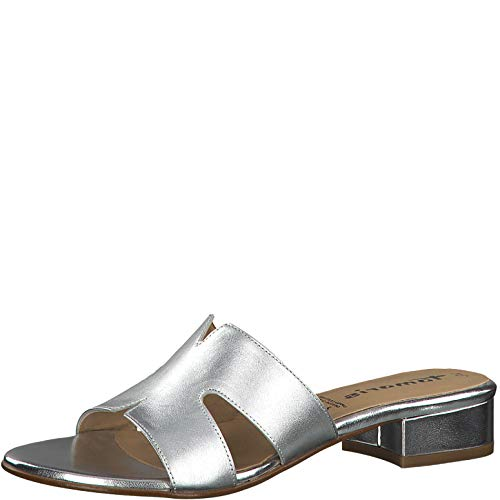 Tamaris 1-1-27123-22 Damen Pantoletten,Pantolette,Hausschuh,Pantoffel,Slipper,Slides,Touch-IT,Silver Leather,42 EU