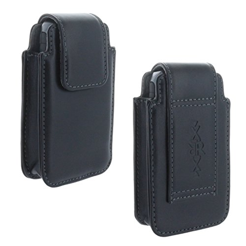 XiRRiX Leder Handy Gürteltasche für Seniorenhandy Tasche für Doro 613 - Panasonic KX-TU329 - Swisstone BBM320 - schwarz