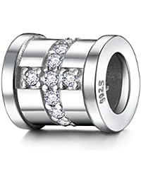 J.ENDEAR Charms argento per bracciali croce disegno regalo di compleanno battesimo pasquale