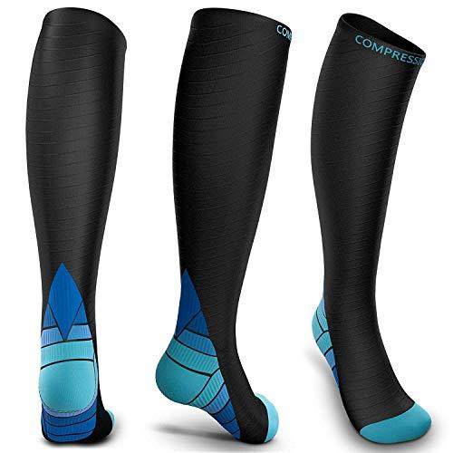 Reignet Calze a compressione per uomini e donne (20-30 mmhg), Ottime per il miglioramento delle prestazioni sportive, corsa, resistenza, recupero, circolazione e viaggi in aereo - L/XL