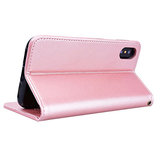 WE LOVE CASE iPhone X Hülle Wallet Blumen Rose Im Retro Style Muster iPhone X / 10 Lederhülle Gold Handyhülle Flip Case Hülle Leder Klappbar Tasche Elegant Backcover PU Intern TPU Silikon Weiche Handy Pink