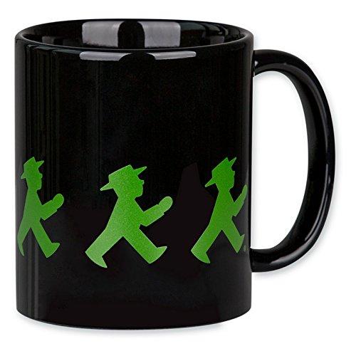 """Preisvergleich Produktbild Ampelmann Kaffeebecher """"Frühauftsteher"""" schwarz mit Geher und Steher Henkelbecher Kaffeetasse Kaffeepott"""