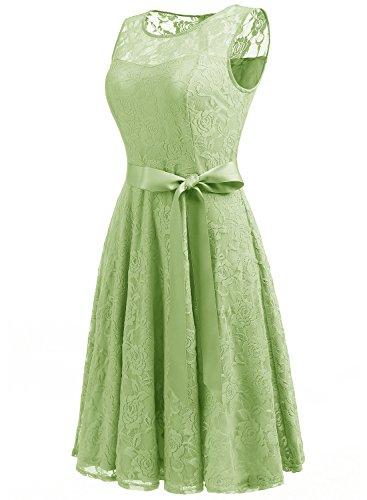 Dressystar AbendKleid Ärmellos Kurz Brautjungfern Kleid Spitzen Rundhals Damen Kleider Hellgrün