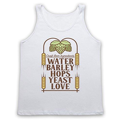Craft Beer Ingredients Water Barley Hops Yeast Love Tank-Top Weste Weis